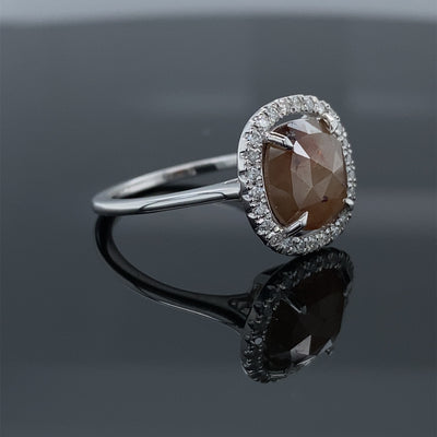 2.18CT Sunstruck Rough Rose Cut Diamond Halo Engagement Ring 14k White Gold 2.35ct Total Diamond Weight