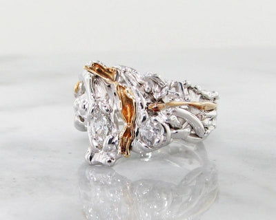 Yellow White Gold Diamond Ring, Waterfall