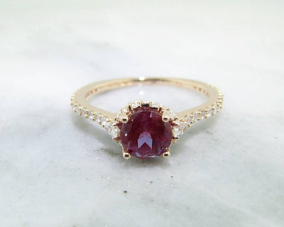 Diamond Alexandrite Rose Gold Engagement Ring