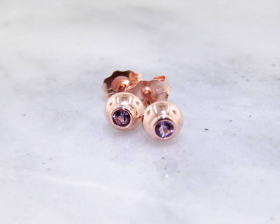 Amethyst Rose Gold Stud Earring Studs