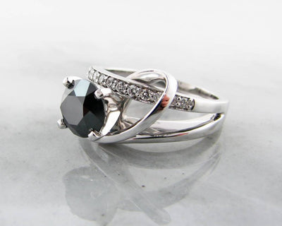 Black Diamond White Gold Ring, Contemporary