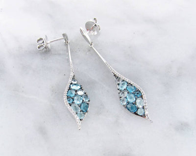Blue Topaz White Gold Multi Stone Earrings, Mosaic