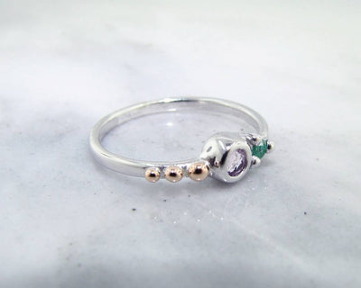 Morganite Emerald Silver Ring, Blush Mojito Dots
