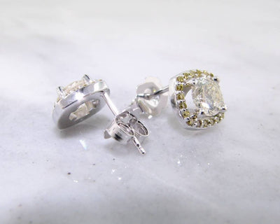 White Gold Diamond Halo Earrings, Lemondrop Studs