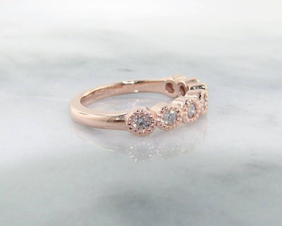 Diamond Rose Gold Ring, Milgrain Bezel