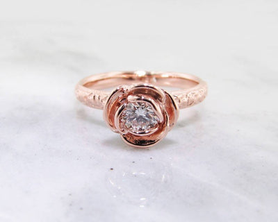 Diamond Rose Gold Ring, Stacked Solitaire Rose