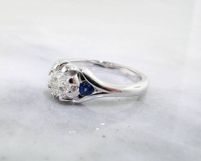 Diamond Sapphire White Gold Engagement Ring, Classic