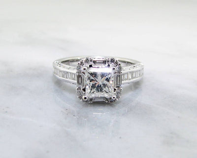 White Gold 1ct Princess Cut Diamond Engagement Ring, Baguette Halo