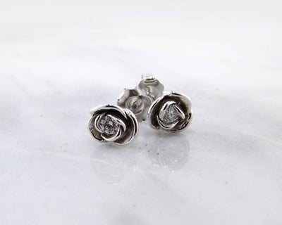 White Gold Diamond Earring Studs, Petite Rose