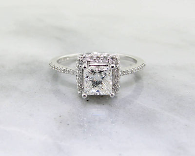 White Gold Diamond Engagement Ring, Princess Cut Halo