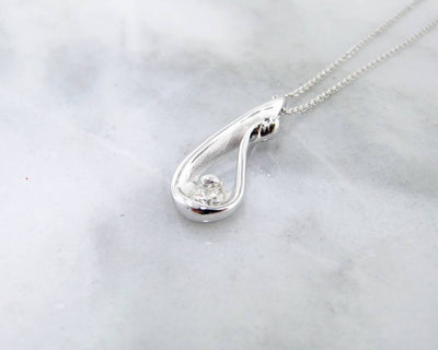 Diamond White Gold Necklace, Raindrop
