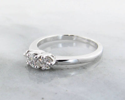 Diamond White Gold Ring, Three Stone Anniversary Band