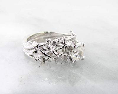 Diamond White Gold Wedding Ring Set, Maple Leaf