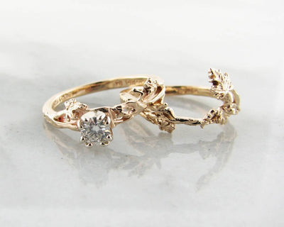 Diamond Yellow Gold Wedding Set, Maple Leaf