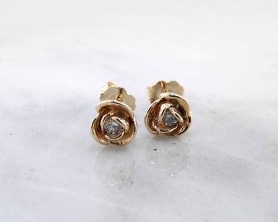Petite Rosebud Earrings Diamond 14K Yellow Gold