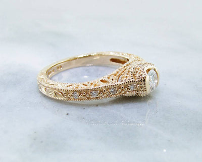 Diamond Yellow Gold Ring, Ornate Filigree