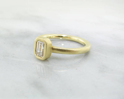 18K Yellow Gold Stacked Emerald Cut Diamond .50ct