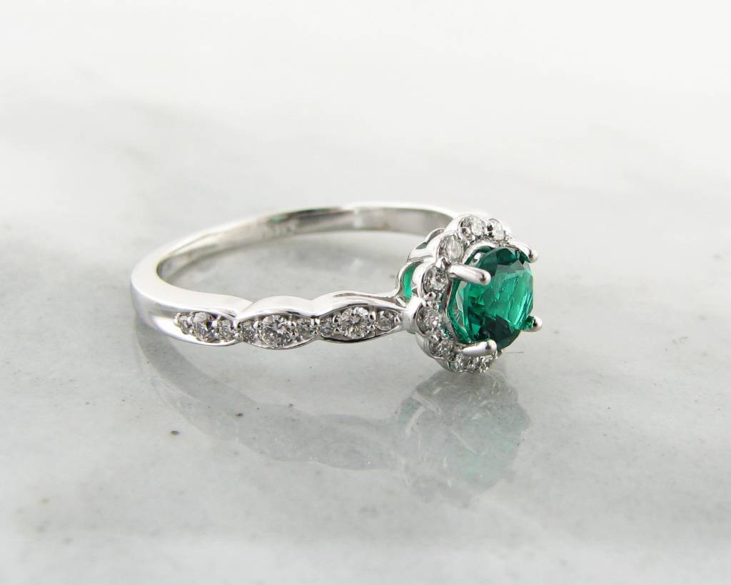 447e5979fcaa Emerald and Diamond Halo White Gold Engagement Ring - Wexford Jewelers
