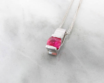 Pink Topaz Silver Pendant Brushed Finish