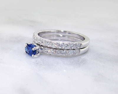 Sapphire Diamond White Gold Wedding Ring Set
