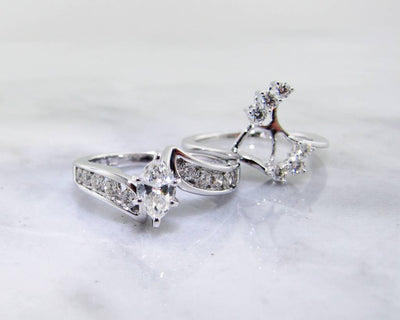 Marquise Diamond White Gold Wedding Set, Interlocking