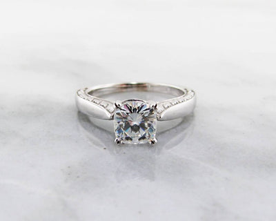Moissanite White Gold Solitaire Ring, Antique Square