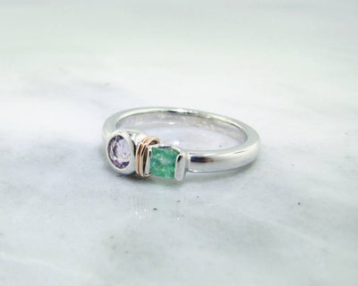 Morganite Emerald Silver Ring, Blush Boho