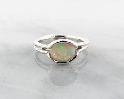 Opal Silver Ring, Melted Split Bezel