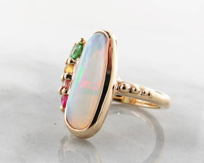 Opal Yellow Gold Multi-Gem Ring, Juicy