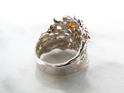 Orange Opal Sapphire Citrine Silver Ring, Tree of Life