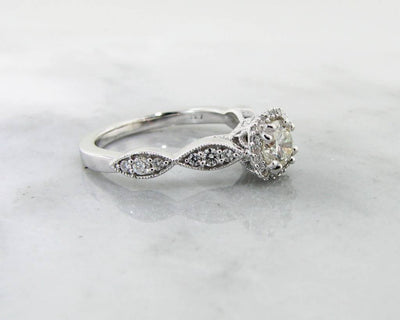 White Gold Halo Diamond Wedding Ring Set, Petite