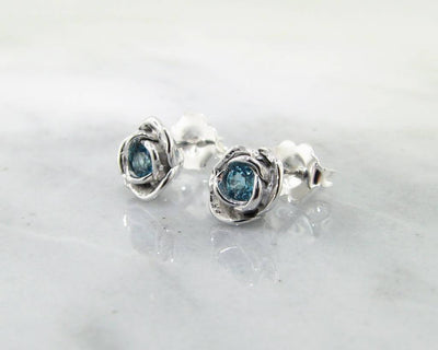 Petite Rosebud Earrings Swiss Blue Topaz Silver