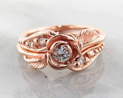 Diamond Rose Gold Wedding Ring Set, Prize Tea Rose