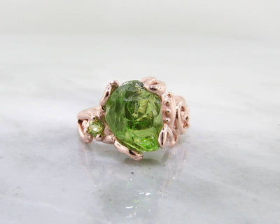 Raw Peridot Rose Gold Ring, Baroque Swirls