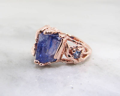 Raw Tanzanite Rose Gold Ring, Woodland Dream