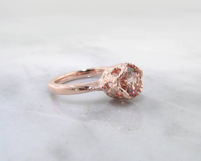 Champagne Sapphire Rose Gold Ring, Lace Bezel