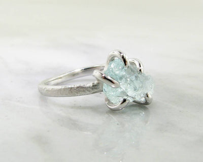 Raw Aquamarine Silver Ring, Glacier