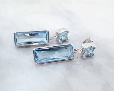 Topaz Silver Earrings, Geometric Blue Dangles