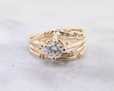 Yellow Gold, Diamond Wedding Ring Set, Cherry Blossom