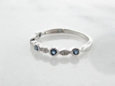 White Gold Diamond Milgrain Blue Sapphire Stacking Ring, Tempo