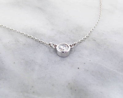 White Gold Diamond Split Chain Necklace