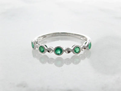 White Gold Diamond Milgrain Emerald Stacking Ring, Ellipses