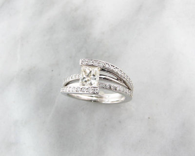 White Gold Princess Cut Diamond Wedding Ring, Holding Treasure