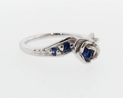 White Gold Sapphire Wedding Ring Set, Prize Tea Rose
