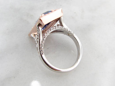 White Gold Tanzanite Diamond Ring, Lavish