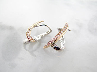 Yellow White Gold Diamond Earring Jackets, Atlantic Ribbon