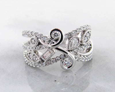 White Gold Art Nouveau Diamond Ring, Flourish