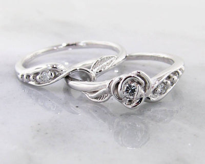 Diamond White Gold Wedding Ring Set, Tea Rose