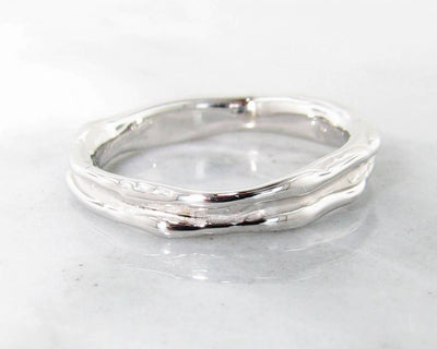White Gold Ring, Skinny Melted Band