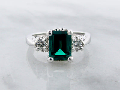 wexford-jewelers-moissanite-created-emerald-silver-ring